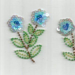 Other - 2PC Blue Flowers Sequins Beads Iron on Patches